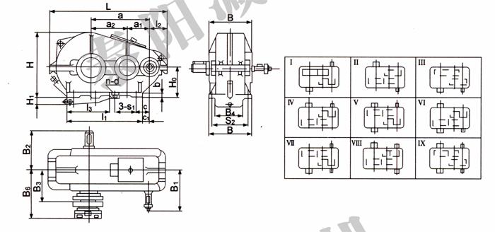 ZQ(H)圆柱齿轮减速机外形尺寸及装配型式